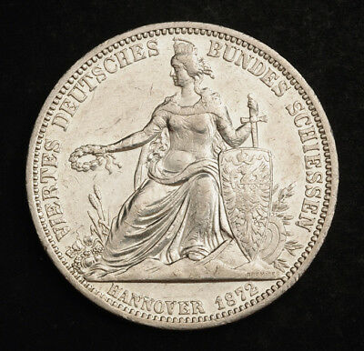 1872, Hannover, George V. Silver Shooting Thaler Coin. Low Mintage: 6,317pcs!