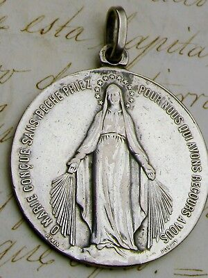 Nun's Antique Penin & Poncet Signed Sterling Silver Catholic Miraculous Medal