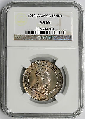 1910 Jamaica One Penny MS 65 NGC