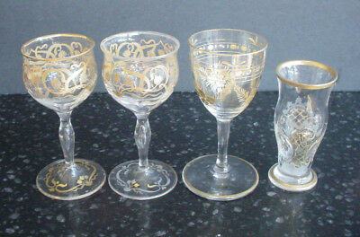 Four Antique Tiny Liquor Glasses Cut/Etched Gold