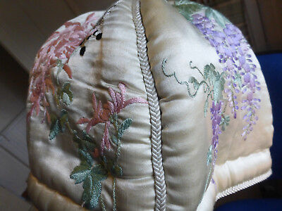 Chinese silk 4 panel embroidered tea cosy