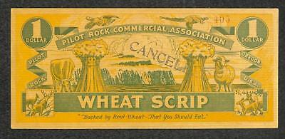 Pilot Rock Oregon Commercial Assoc. Wheat Scrip Currency $1.00 #405 1933