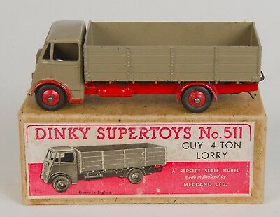 Dinky Supertoys 511 Guy 4-Ton Lorry. Fawn/Red 1st Issue. Boxed. Original 1940's