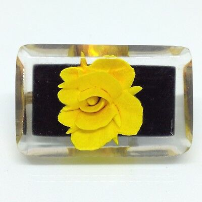 Vintage YELLOW ROSE FLOWER BROOCH PIN Encased in Clear Lucite Gold Tone