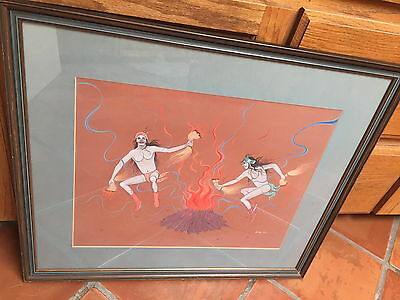 "Jerry Lee Navajo Original Gouache On Board Framed Size 27.75"" X 23.75"""