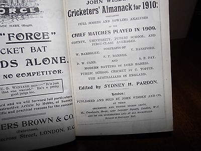Wisden Cricketers' Almanack 1910 Rebound in boards EXCELLENT cond.