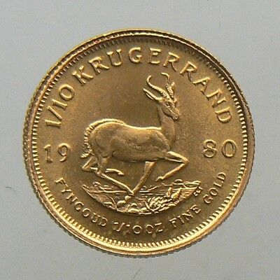 1980 SOUTH AFRICA 1/10 oz KRUGERRAND GOLD COIN AUNC
