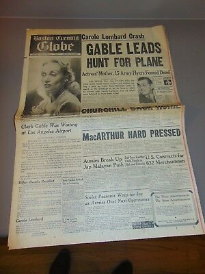 Jan. 17, 1942 Boston Newspaper: Wwii, Carole Lombard Killed In Plane Crash