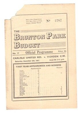 1947 Carlisle United Reserves v Horden Colliery Welfare programme