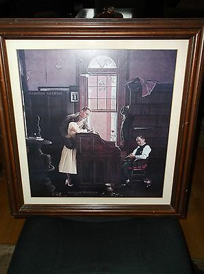 Matted & Framed Vintage Print Norman Rockwell Marriage License 22 X 24""
