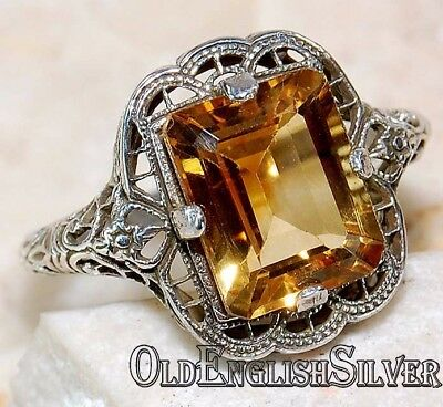 4CT Citrine 925 Solid Sterling Silver Edwardian Style Filigree Ring jewelry Sz 6