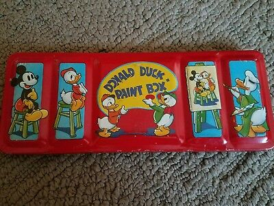 1940 Donald Duck Paint Box Transogram Co #1105 with Paint