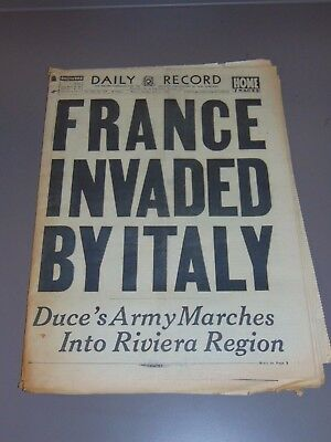June 11, 1940 Boston Newspaper: Wwii Italy Invades France: Mussolini Marches In