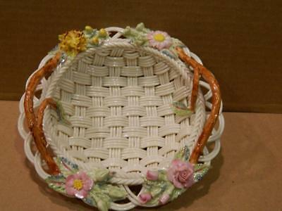 "Belleek ""Floral Garden"" Basket w/ Handles 11TH Green Mark 2002 COA"