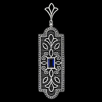 Blue Sapphire 925 Sterling Silver Victorian Style Filigree Pendant jewelry