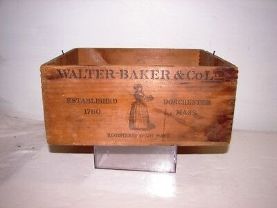 antique Walter bakers & Co breakfast Cocoa wood advertising box crate