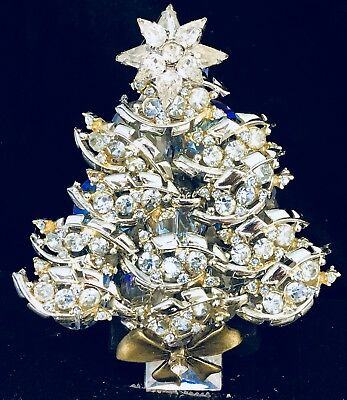 Exquisite Baby Blue Vintage  Rhinestone Christmas Tree Pin Brooch Signed LaHeir