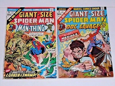Giant Size Spiderman #3 and #5 comic Lot (VF+) Man-Thing and Doc Savage