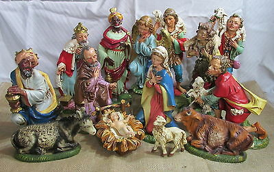 "Vintage Italy Paper Mache Fontanini 14 Piece 12"" Figures Nativity Christmas Set"