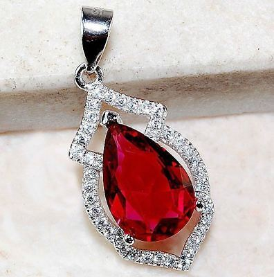 2CT Ruby & White Topaz 925 Solid Genuine Sterling Silver Pendant Jewelry