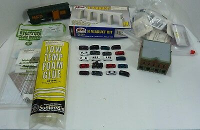Model Railroad:  Lot of Different Items, Building, Box Car, Glue and More