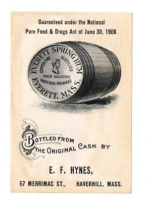 1900s EVERETT DISTILLERY, EVERETT, MASSACHUSETTS SPRING RUM E. F. HYNES LABEL