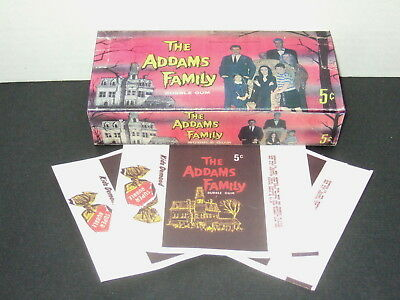 1964 TV Addams Family Empty Trading Gum Card Box & Wrappers Repl Set Wow!