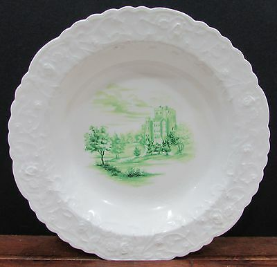 Steubenville Pope Gosser Rose Point Green Castle Embossed Rim Soup Bowl FREE S/H