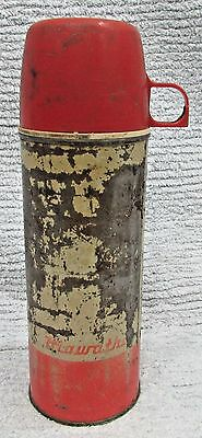 Primitive Old 1950's Red Metal Thermos Hiawatha Vintage Vacuum Bottle FREE S/H