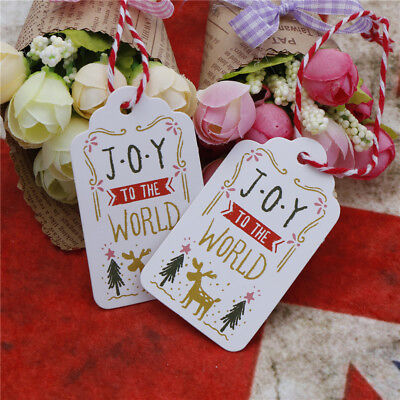50PCs Merry Christmas Gift Cards Kraft Paper tag Marker joy to the world Tag Pop
