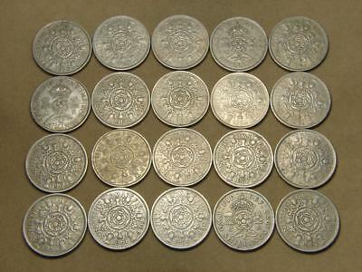 1943-1966 Great Britain 2 Shillings Coin Lot of 20