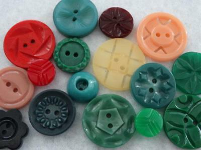Awesome Lot Colorful Fancy Cut 1940's Vintage Casein Buttons
