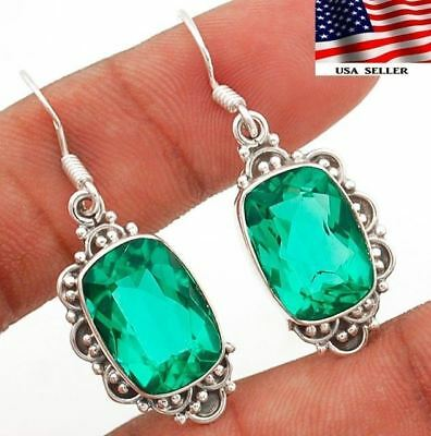 "12CT Apatite 925 Solid Genuine Sterling Silver Earrings Jewelry 1 2/3"" Long"