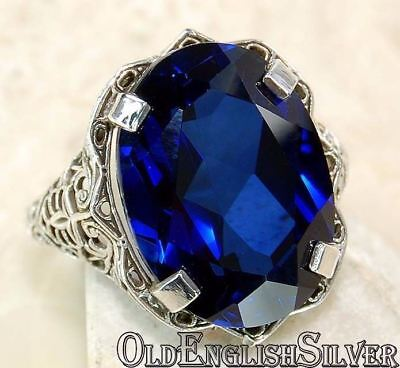8CT Blue Sapphire 925 Sterling Silver Victorian Style Filigree Ring jewelry Sz 8