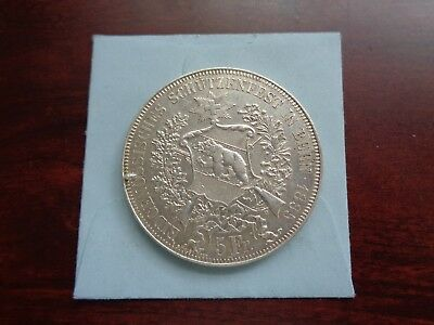 1885 Switzerland BERN 5 Francs large silver coin Shooting Thaler