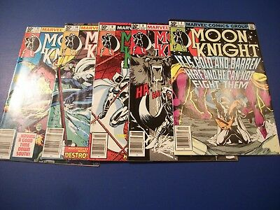 Moon Knight #7,8,9,10,11 Comic Book Lot Run of 5 Fine- to VF- 1st Series WOW!