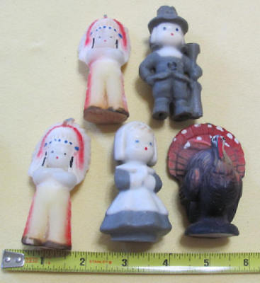 7 vintage Thanksgiving figural candles pilgims Indians turkey Gurley never lit