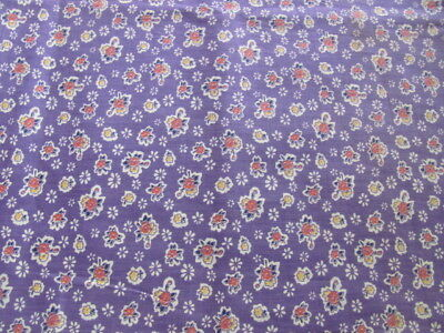 "Vintage purple 35"" quilting weight cotton with small floral design over 3 yards"