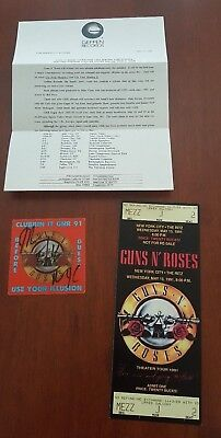 Guns N' Roses New York City 1991 Oversized Full Concert Ticket Pass Promo Sheet