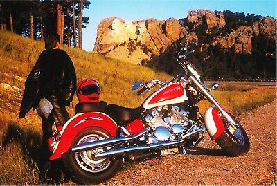 Motorcycle at Mount Rushmore near Sturgis SD Postcard