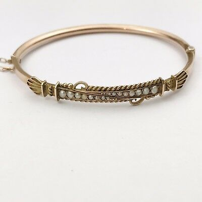 ANTIQUE VICTORIAN 1900 SOLID 9ct ROSE GOLD SEED PEARL PAYTON PEPPER SONS BANGLE