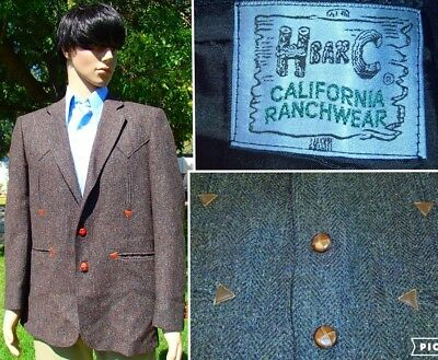 vintage men 42R western blazer H BAR C wool tweed leather california rockabilly