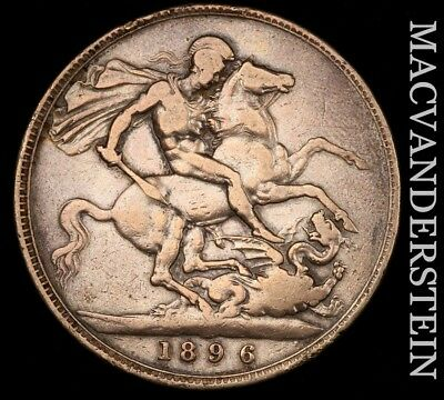 Great Britain: 1896 One Crown- Scarce !! Better Date !!  #w63
