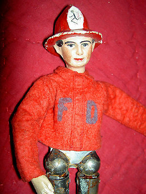 Antique Bucherer SABA multi-jointed FIREMAN doll molded fire helmet, uniform TLC