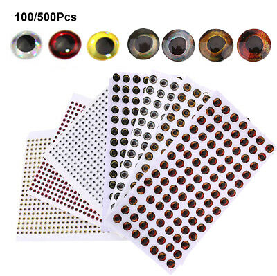 Lot 500pcs 3D Holographic Fishing Lure Eyes for Fish Fly Tying Jigs Craft Dolls