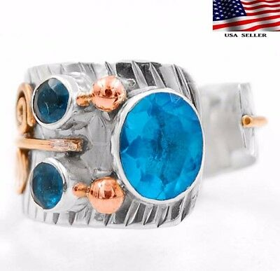 Three Tone - Flawless Blue Topaz 925 Solid Sterling Silver Ring Jewelry Sz 8.75