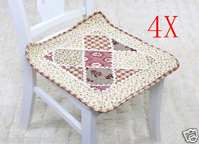 4X New Pastoral Style Beige 45 * 45 CM Cotton Fabric Practical Chair Mats Pads