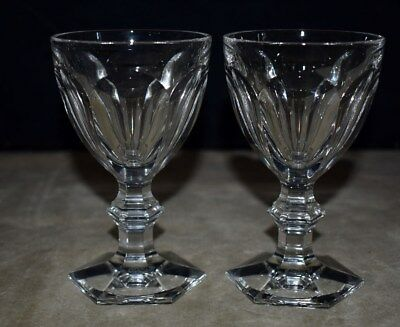 Beautiful Pair Baccarat Crystal Claret Wine Glasses – Harcourt Pattern – Signed