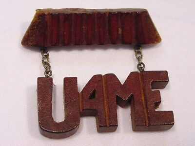 Vintage WWll Carved Wood Sweetheart Pin ~ U4ME Dangles from Top Piece by Chains