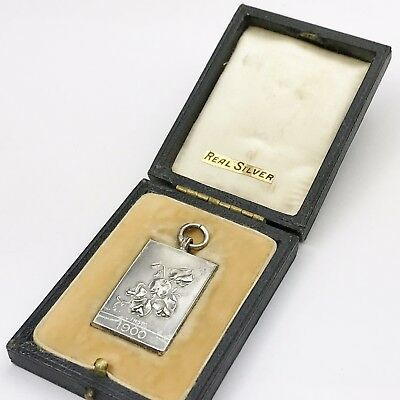 Vintage Solid Sterling Silver 1900 Sweet Pea Society Medal Award Pendant Boxed